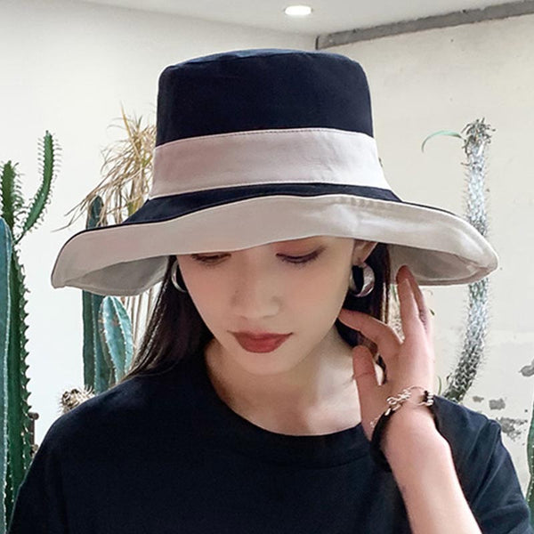 Patchwork reversible curled brim hats