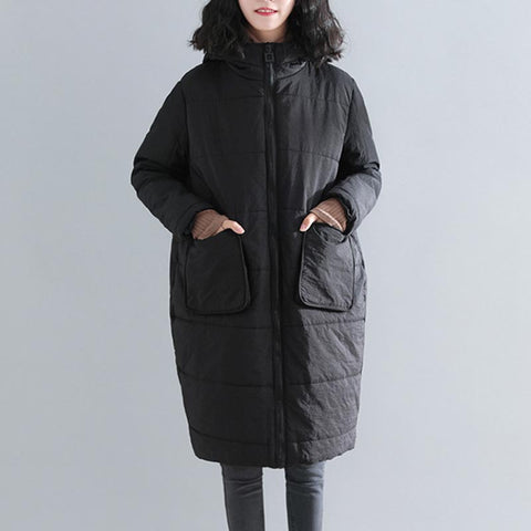 Hooded full-zip quilted loose coats