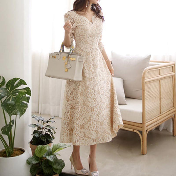 V-neck lace formal dresses