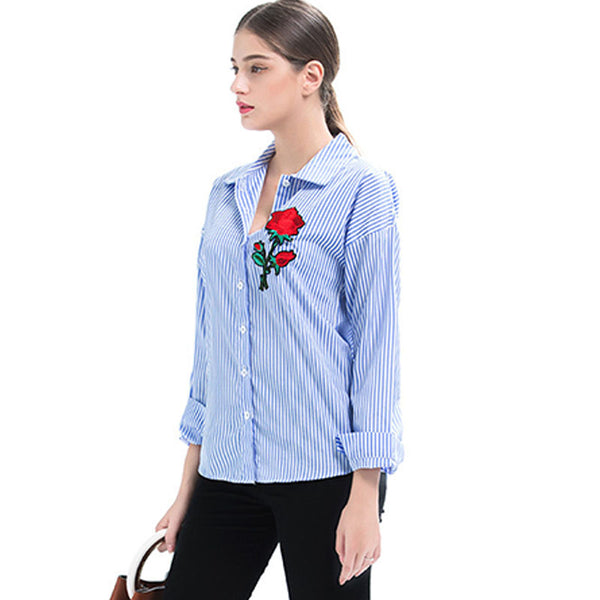 Rose embroidered lapel striped blouses - Fancyever