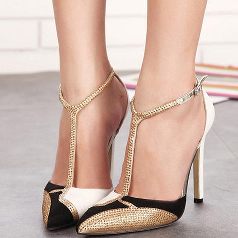 Pointed toe color block ankle-tied heels