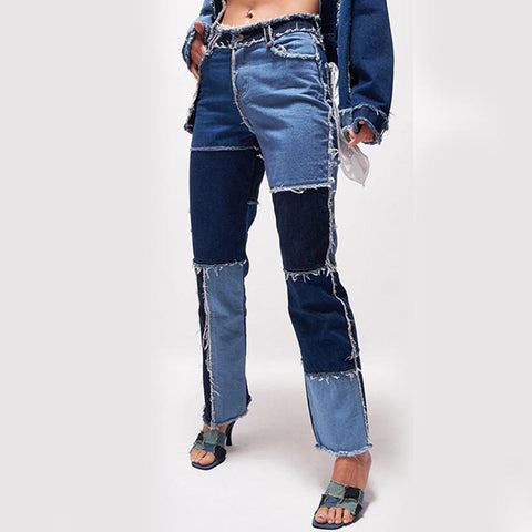 Hit color high waisted straight jean pants