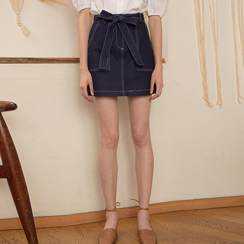 High waisted belted mini skirts