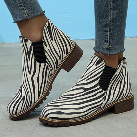 Zebra stylish ankle boots
