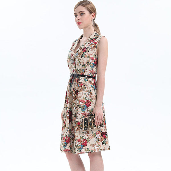 Turn-down collar floral belted dresses