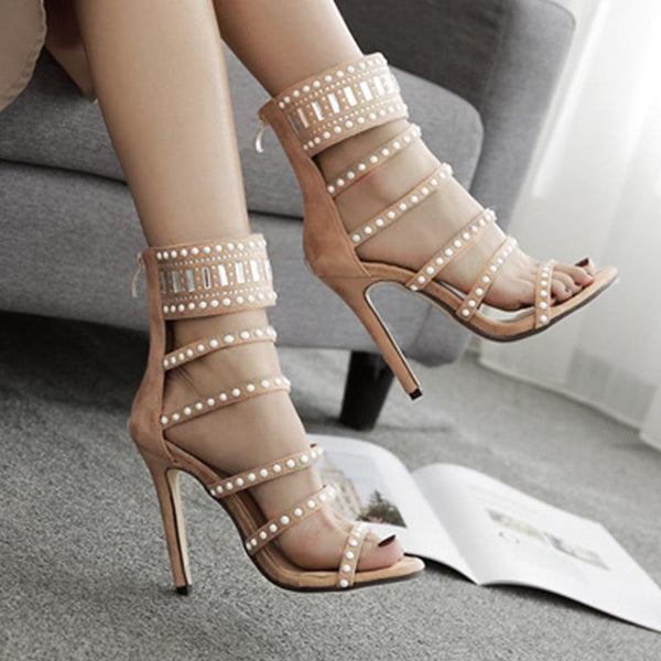 Hot drilling suede pointed heel sandals