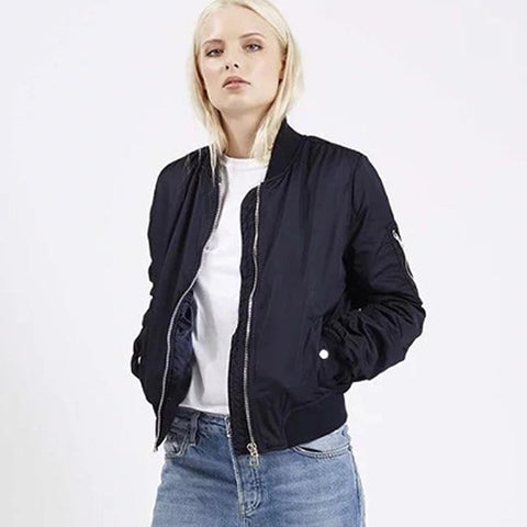 Basic zippered bomber jackets - Fancyever