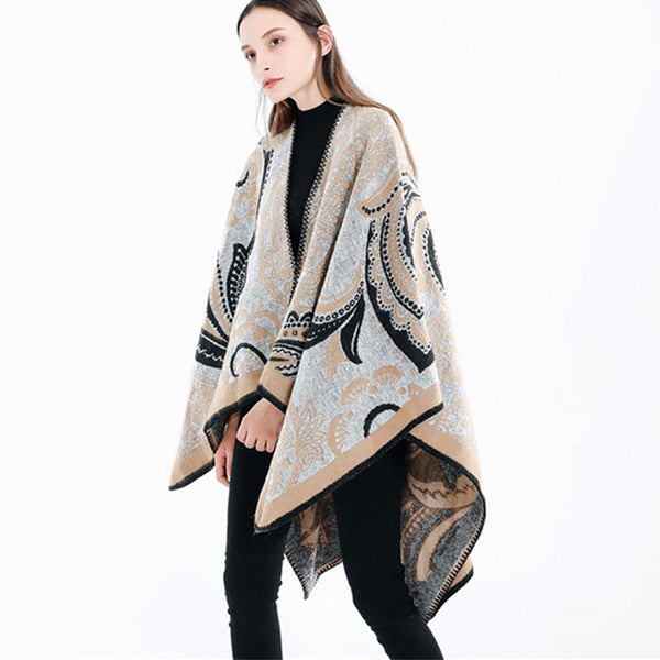 Jacquard cashmere feel cape scarves - Fancyever