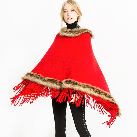 Faux fur collar fringed ponchos - Fancyever