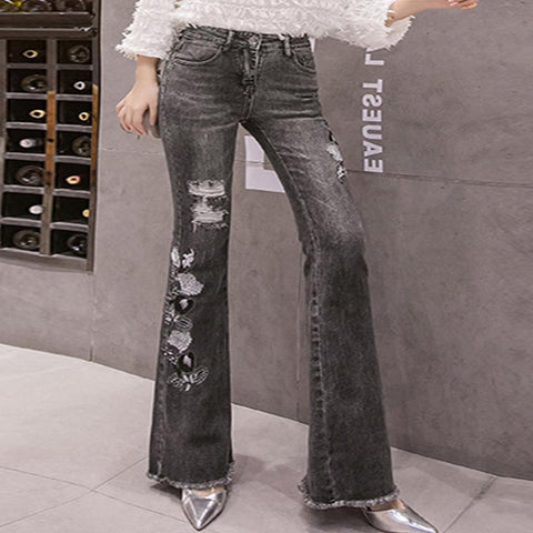 Embroidered ripped slim jean flare pants