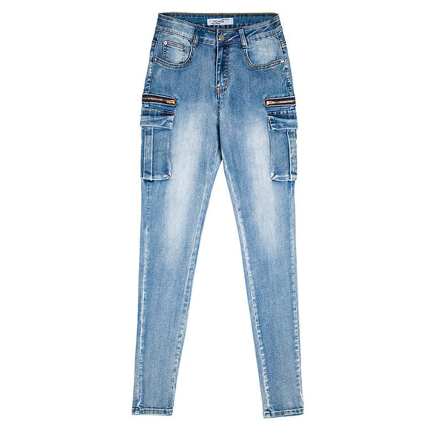 Denim elastic skinny pants with pockets