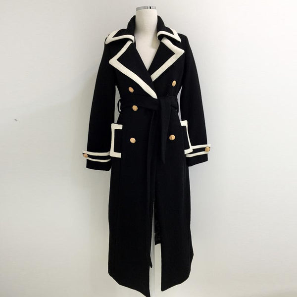 Retro solid thick long peacoats