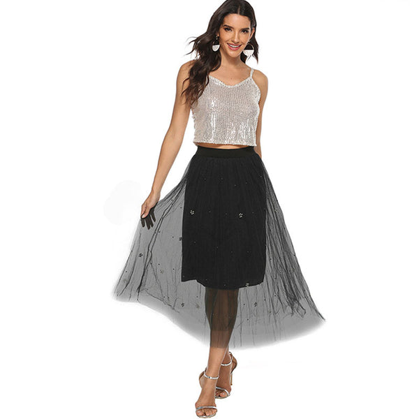 Mesh beaded solid lined skirts