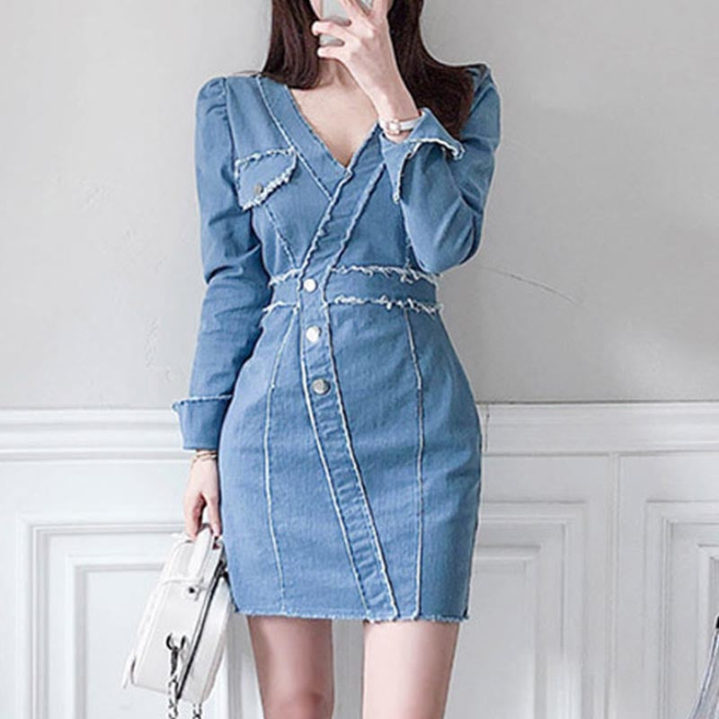 V-neck rough selvedge mini denim dresses