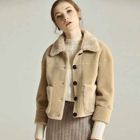 Color-blocked teddy bear short coats - Fancyever