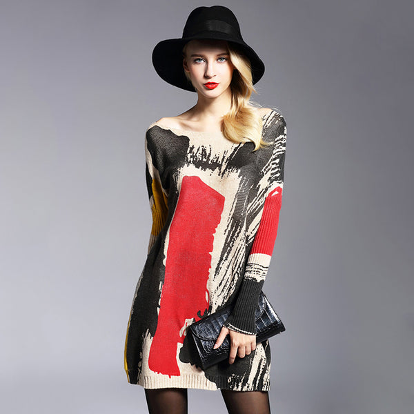 Color-blocked bat sleeve fine-knit sweaters