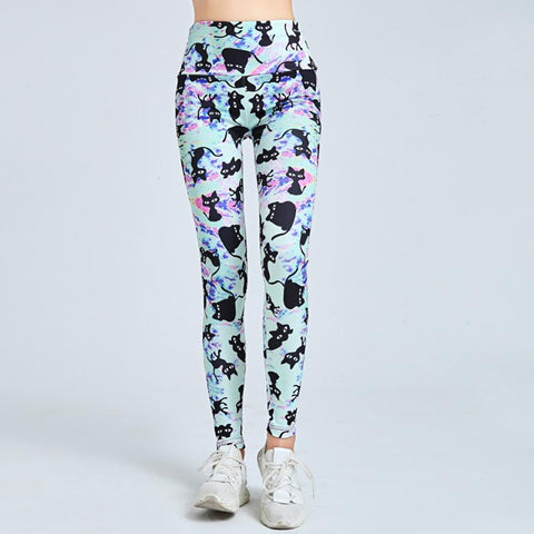 Cat print breathable yoga running fitness leggings - Fancyever