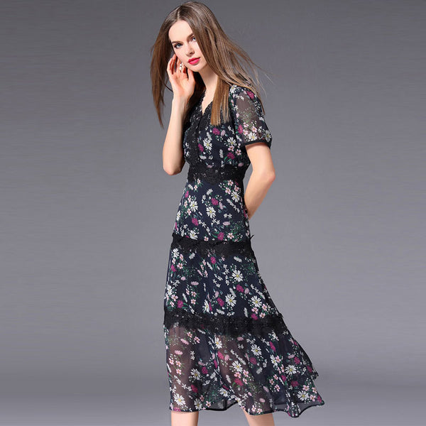 V-neck floral lace up chiffon dresses - Fancyever