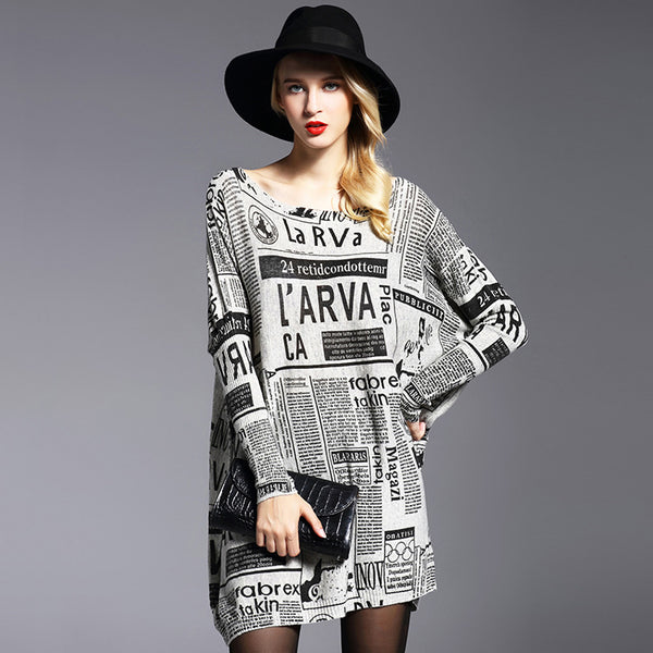 Letter print scoop neck loose sweaters - Fancyever