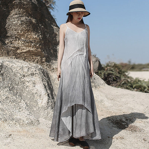 Vintage sprayed drape v-neck sun dresses