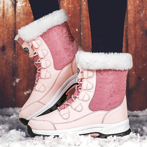Cross straps rounded thick snow boots