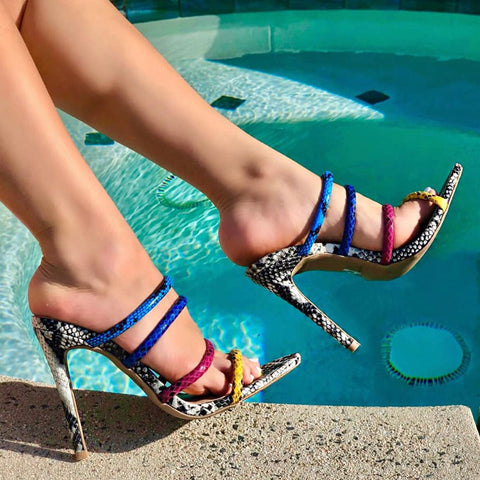 Snake pattern strappy high heel slippers