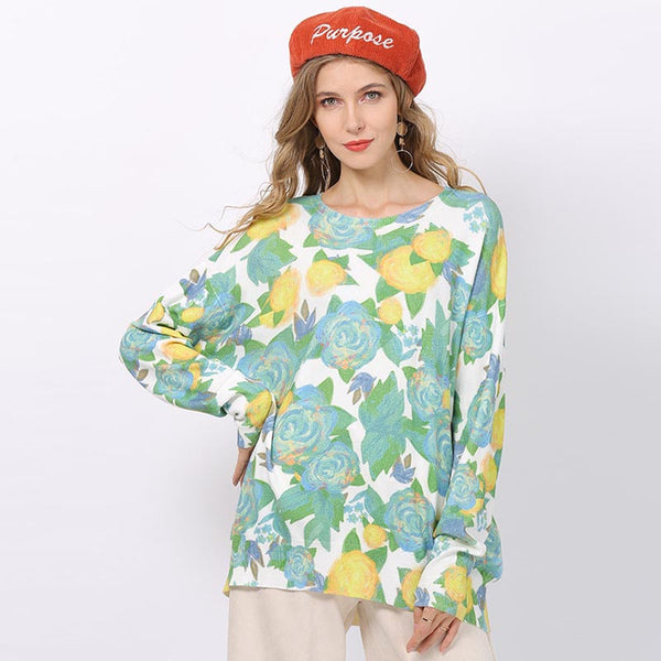 Rose pattern loose pullover sweaters