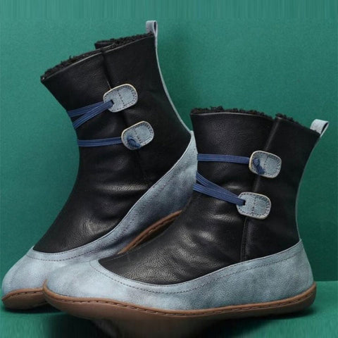 Color-blocked vintage PU leather fur winter boots