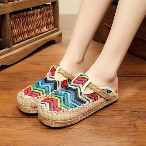 Rounded toe woven breathable slippers