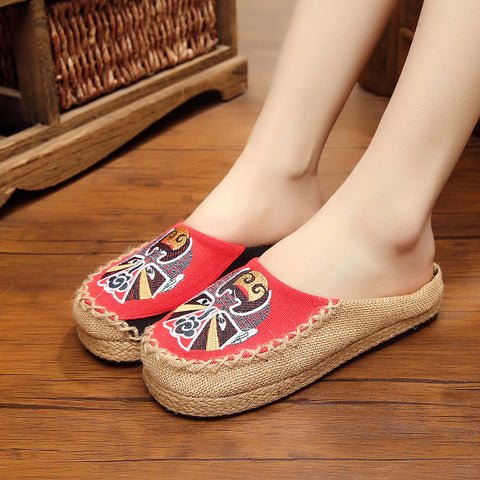 Retro traditional face print linen slippers