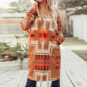 Large lapel print long coats