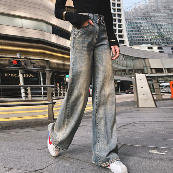 Bleach wide leg jean pants - Fancyever