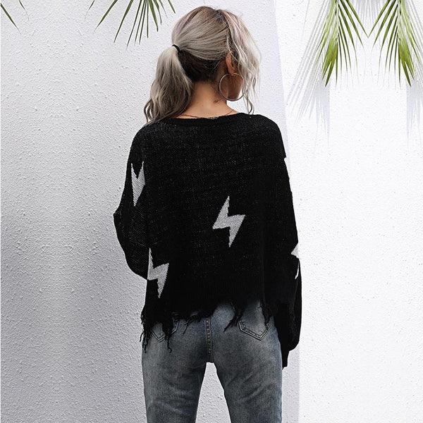 V-neck lightning pullover sweaters
