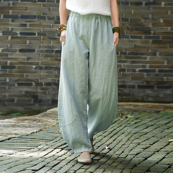 Solid color linen tapered pants