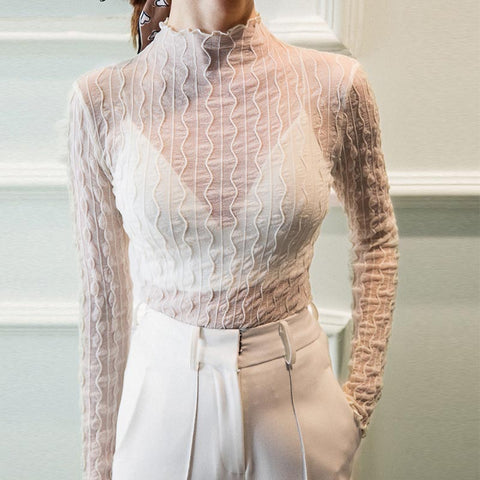 Half-collar open work lace slim blouses