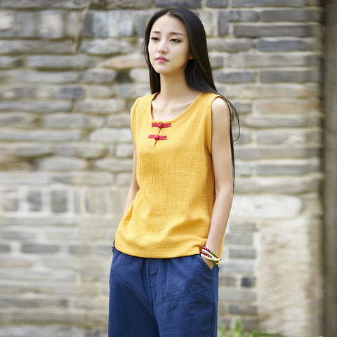 Linen crew neck tanks - Fancyever
