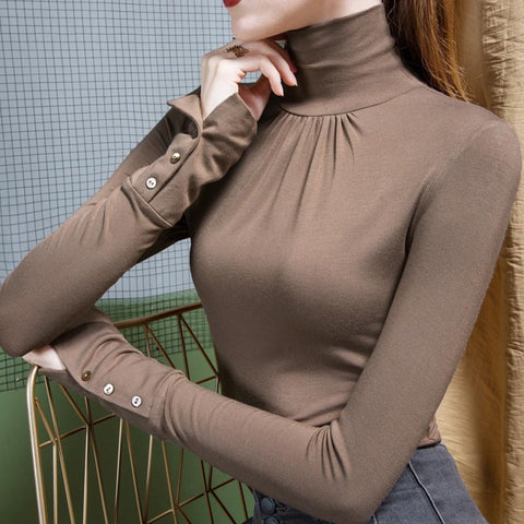 Turtleneck solid versatile slim sweaters