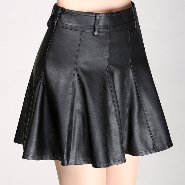 Faux leather high waisted mini skirts - Fancyever