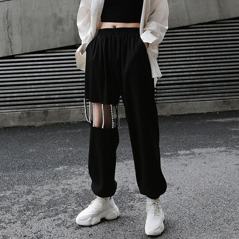 Openwork beaded sport ankle-tied pants