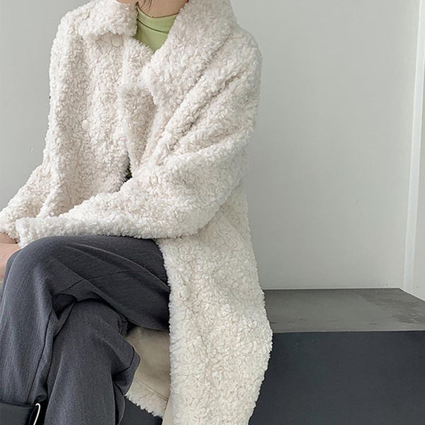 Solid brief thick fur coats