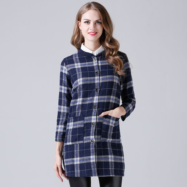 Crew neck single-breasted plaid coats