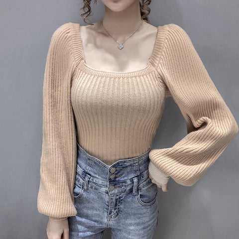 Pullover square neck solid puff sleeve sweaters
