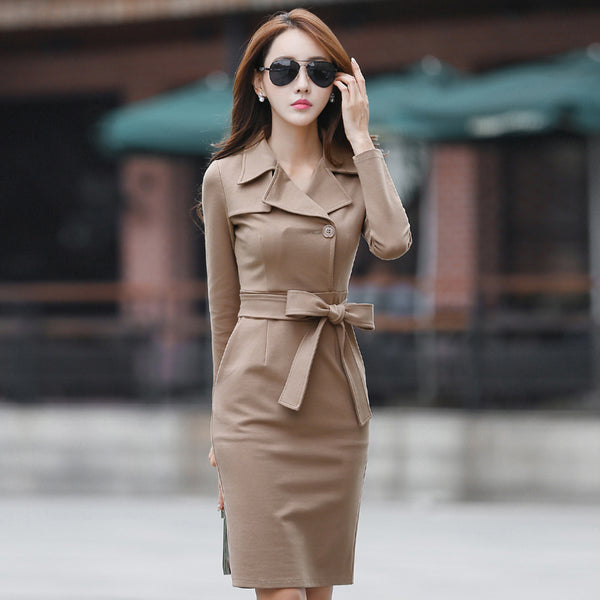 Turn-down collar belted bodycon dresses - Fancyever