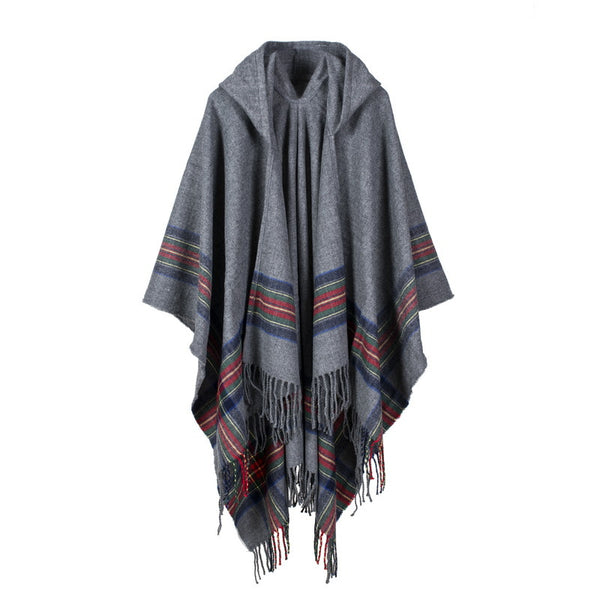 Hooded plaid tassel scarves - Fancyever