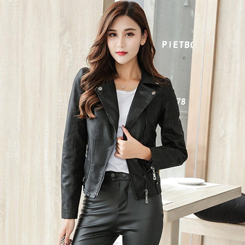 Wide lapel slim faux leather jackets