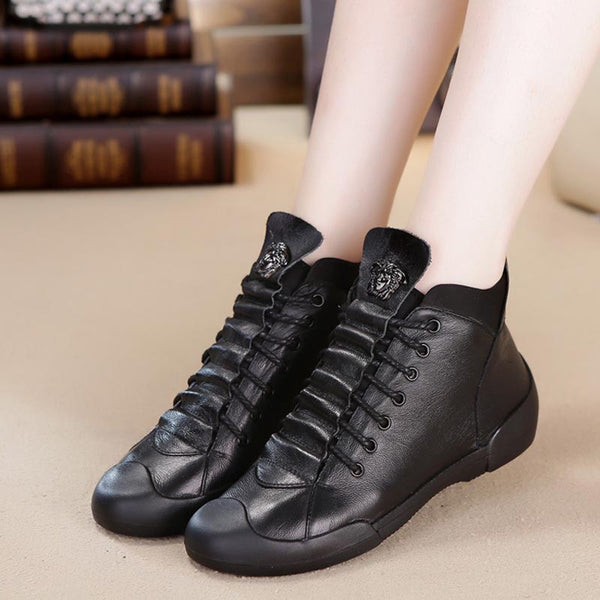 Lace-up genuine leather high top shoes