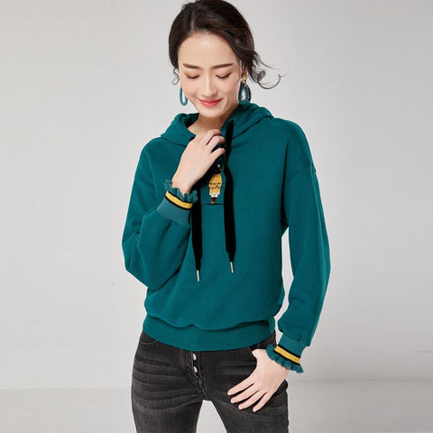 Embroidered ruffle sleeve tied hoodies