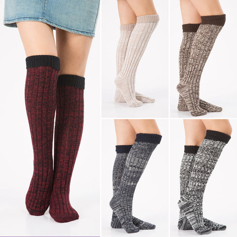 3 pairs patchwork knee high boot socks