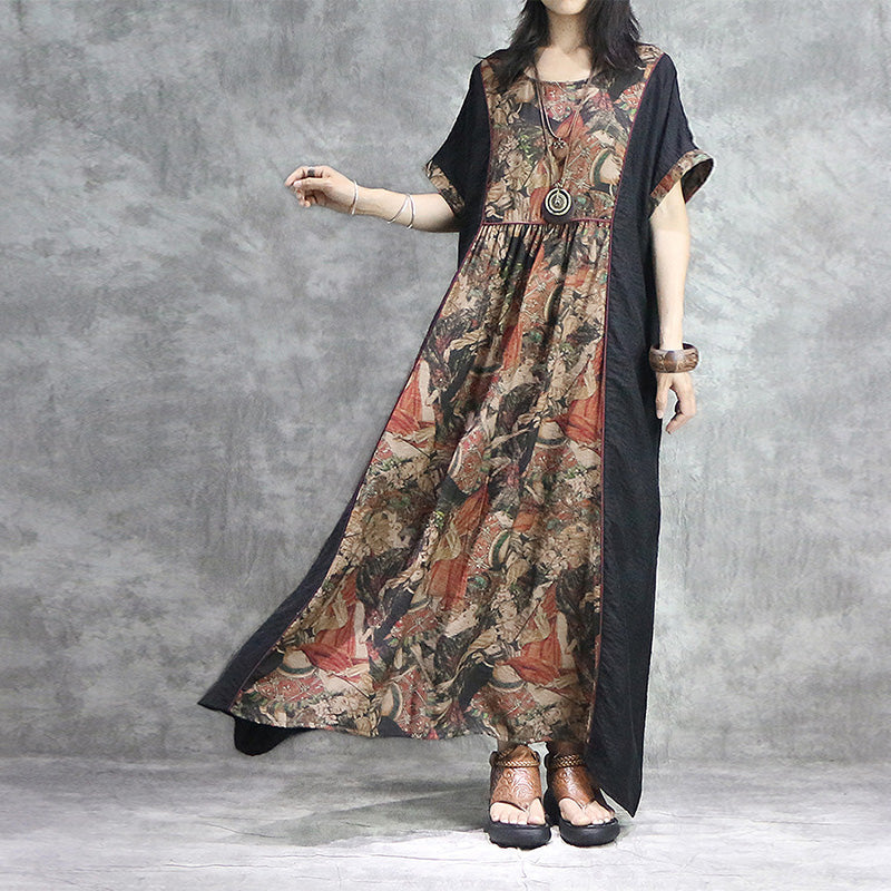 Print splicing asymmetric loose dresses