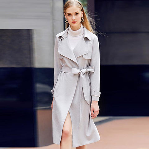Suede wide lapel belted coats